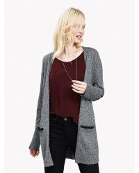 Banana Republic - Gray Faux-leather Trim Long Cardigan - Lyst