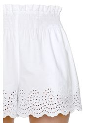 Philosophy Di Lorenzo Serafini - White Embroidered Cotton Poplin Eyelet Shorts - Lyst