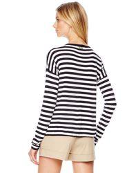 Michael Kors - White Michael Leather Pocket Striped Tee - Lyst