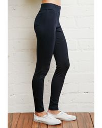 Forever 21 - Blue Cotton-blend Leggings - Lyst
