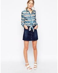 See By Chloé - Blue Striped Tie Front Silk Long Sleeve Shirt - Lyst