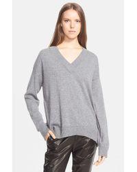 Vince - Gray Pointelle Trim V-Neck Sweater - Lyst