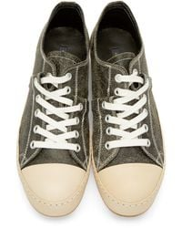 Miharayasuhiro - Green Black Crackled Leather Twist Sneakers for Men - Lyst