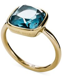 Michael Kors | Metallic Gold-Tone Stainess Steel Citrine Stone Ring | Lyst