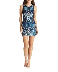Needle & Thread - Blue Sequined & Beaded Mini Dress - Lyst