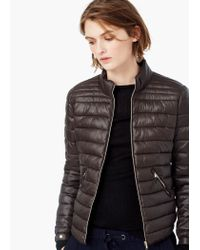 Mango - Gray Side-zip Quilted Coat - Lyst