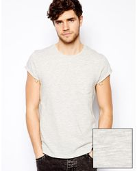 ASOS - Gray T-Shirt With Loose Knit Jersey And Roll Sleeve for Men - Lyst