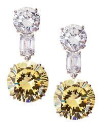 Fantasia by Deserio - White Mixed-cut Two-tone Cz Drop Earrings - Lyst