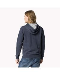 Tommy Hilfiger - Blue Cotton Blend Zip Through Sweater for Men - Lyst