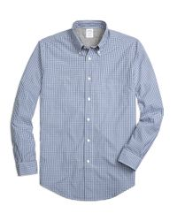 Brooks Brothers | Blue Regent Fit Cotton Jersey Lined Gingham Sport Shirt for Men | Lyst