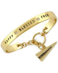 BCBGeneration | Metallic Gold-tone Happy Blessed Free Toggle Cuff Bracelet | Lyst