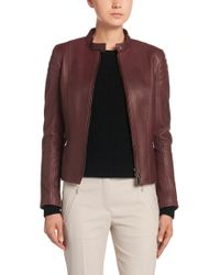 BOSS Red Leather Jacket: 'sarang'