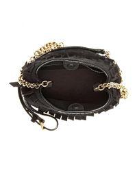 Burberry - Black Mini Fringed Suede Bucket Bag - Lyst