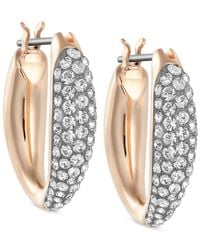 Swarovski | Metallic Gold-tone Small Pavé Hoop Earrings | Lyst