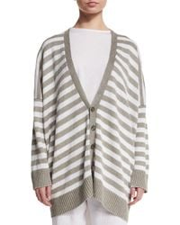 Eskandar - White Striped Linen V-neck Cardigan - Lyst