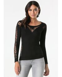 Bebe | Black Logo Lace Inset Popover | Lyst