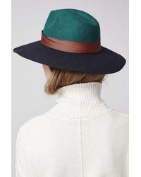 TOPSHOP - Blue Colourblock Fedora Hat - Lyst