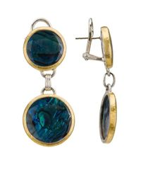 Gurhan | Blue Sterling Silver & 24k Gold Oval Repeating Double-pendant Earrings | Lyst