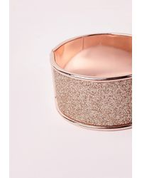 Missguided | Pink Glitter Bangle Rose Gold | Lyst