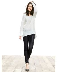 Banana Republic | White Lace-stitch Vee Pullover | Lyst