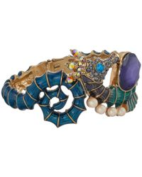 Betsey Johnson | Multicolor Into The Blue Seahorse Hinge Bangle Bracelet | Lyst