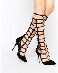 Carvela Kurt Geiger - Black Grip High Leg Strap Heeled Shoes - Lyst