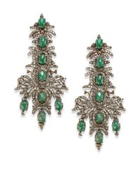 Bavna | Metallic Emerald Diamond  Sterling Silver Chandelier Earrings | Lyst
