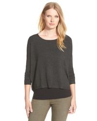 Eileen Fisher | Gray Bateau-Neck Fine Knit Top | Lyst