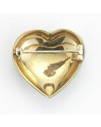 Tiffany & Co. - Green Pre-owned Enamel Heart Pin in 18k Yellow Gold - Lyst