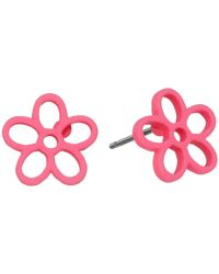 Marc By Marc Jacobs | Pink Rubberized Daisy Studs Earrings | Lyst