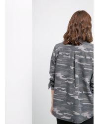 Mango - Gray Camo-Print Shirt - Lyst