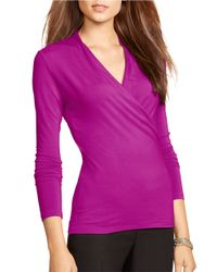 Lauren by Ralph Lauren | Purple Petite Jersey Mock Wrap Top | Lyst