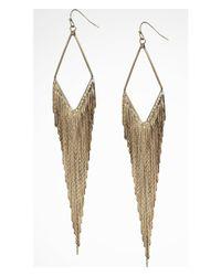 Express | Metallic Diamond Shaped Metal Fringe Earrings | Lyst