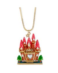 Betsey Johnson | Metallic Antique Goldtone Castle with Hidden Swan Charm Pendant Necklace | Lyst