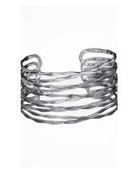 Express - Metallic Crisscross Metal Cuff - Lyst