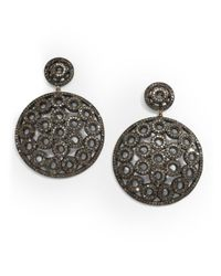 Bavna | 6.54 Tcw Pavà Diamond & Blackened Sterling Silver Medallion Drop Earrings | Lyst