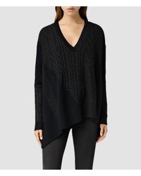 AllSaints | Blue Link Draped Sweater | Lyst