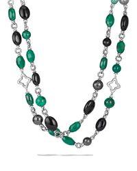 David Yurman | Metallic Bead Necklace With Black Onyx & Green Onyx | Lyst