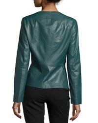 Lafayette 148 New York - Green Liv V-neck Leather Jacket - Lyst