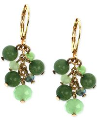 Jones New York | Multicolor Gold-tone Green Bead And Stone Cluster Earrings | Lyst