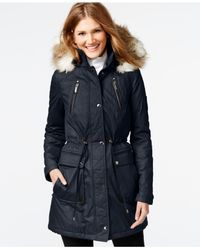 Laundry by Shelli Segal | Blue Faux-fur-trim Parka | Lyst