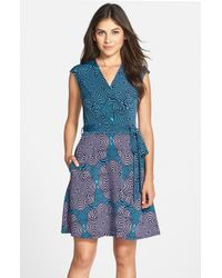 808db6962 Lyst - Taylor Dresses Print Jersey & Scuba Faux Wrap Dress in Blue