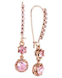 Betsey Johnson | Pink Crystal Long Drop Earrings | Lyst