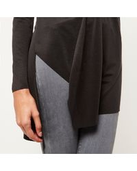 River Island - Black Dark Grey Cupro Asymmetric Hem Top - Lyst