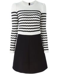 RED Valentino - Black Striped Sweater Dress - Lyst