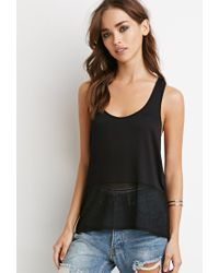 Forever 21 | Black Netted Mesh Panel Tank | Lyst