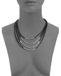 John Hardy - Bamboo Sterling Silver & Black Cord Four-row Necklace - Lyst