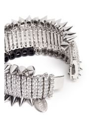 Venna - Metallic Crystal Pavé Spike Bracelet - Lyst