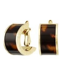 Michael Kors | Brown Etched Monogram Huggie Clip On Earrings | Lyst