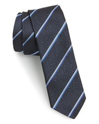 HUGO | Blue Stripe Woven Silk Tie for Men | Lyst